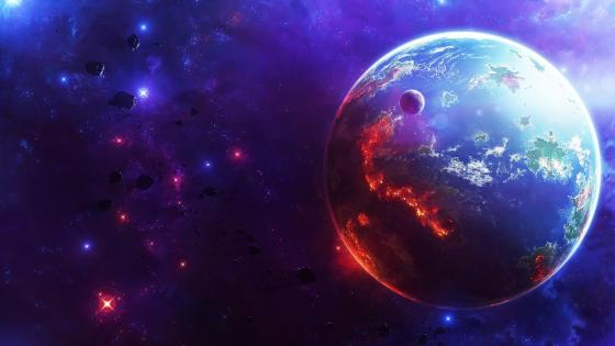 Glowing Earth and moon space art wallpaper