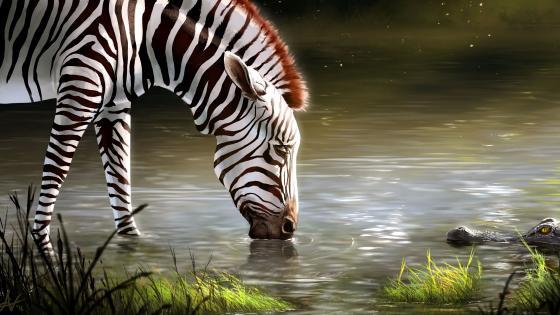 Zebra and crocodile wallpaper
