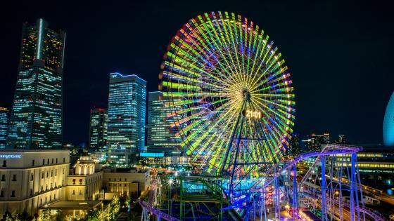 Colorful ferris wheel wallpaper