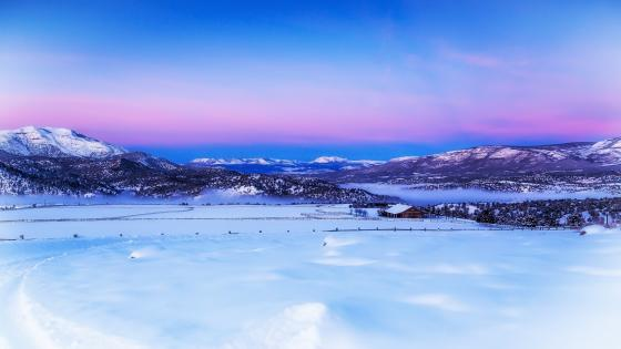 Scenic winter landscape digital painting wallpaper