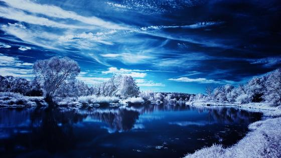 Blue winter landscape wallpaper