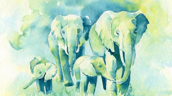 Elephants painting wallpaper