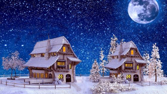 Small houses on a winter night wallpaper