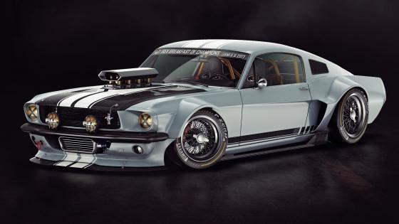 1965 Ford Mustang side view wallpaper