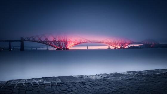 Forth Bridge in haze, Scotland wallpaper