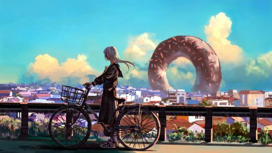 Anime girl with bicycle wallpaper
