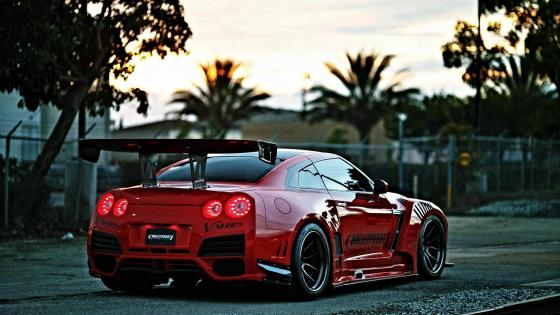 Red Nissan GT-R wallpaper