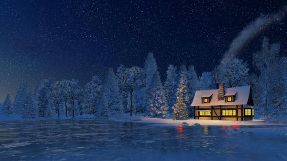Snowy christmas night wallpaper