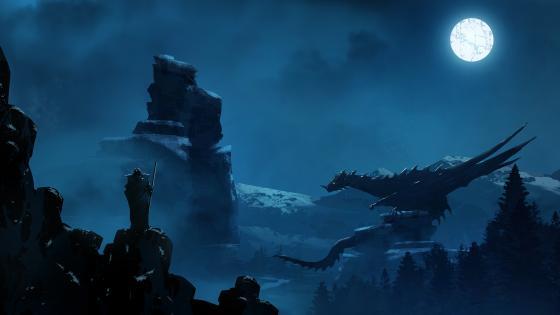 Dragon in the moonlight wallpaper