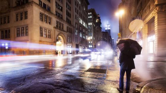 Rainy evening in New York City wallpaper