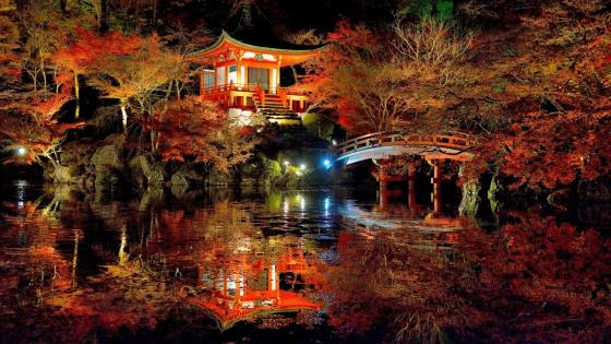 Daigo-ji Temple at night wallpaper