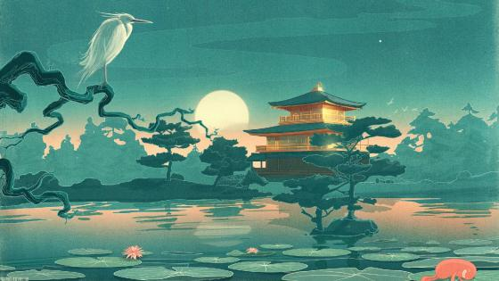 Pagoda in the moonlight japanese art wallpaper