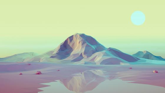 3D low-poly landscape wallpaper