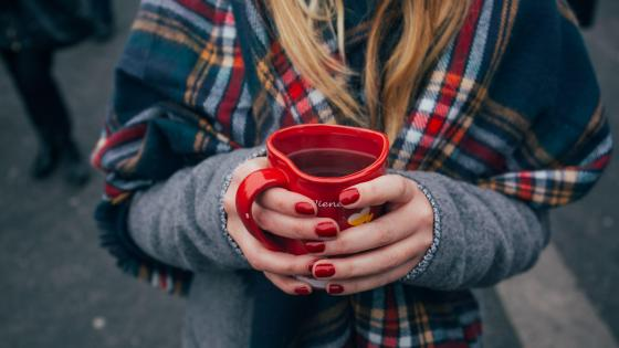 Girl wiht a hot tea wallpaper