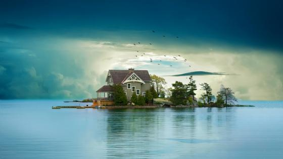 Sweet house on a small island wallpaper