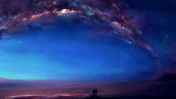 Milky way and shooting stars - So romantic! wallpaper
