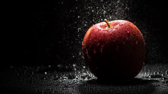 Red apple with waterdrops wallpaper