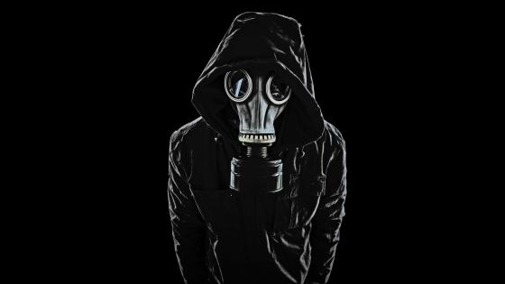 Hoodie and gas mask wallpaper