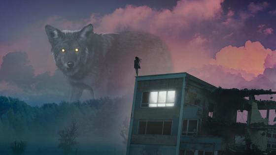 Giant fantasy wolf wallpaper