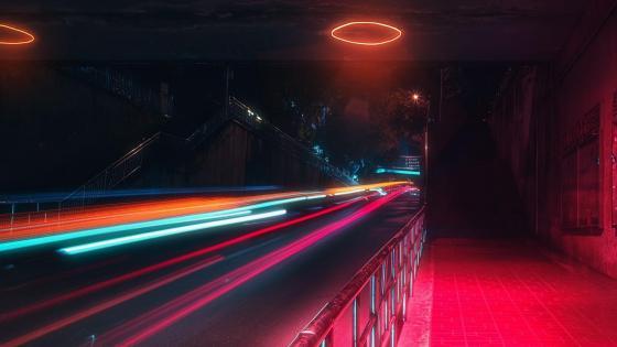 Tunnel lights wallpaper