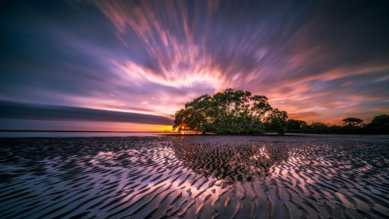 Sand waves along Nudgee Beach (Australia) wallpaper