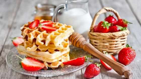 Belgian waffle with strawberry wallpaper