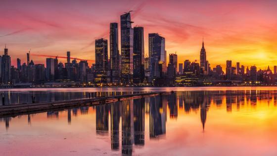 Sunset cityscape reflection wallpaper