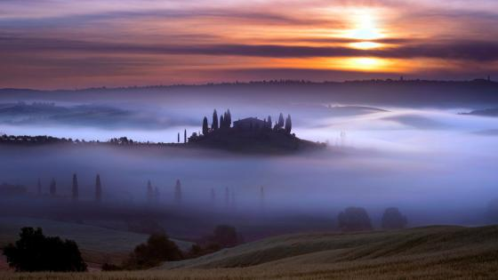 Podere Belvedere in the fog (Tuscany) wallpaper