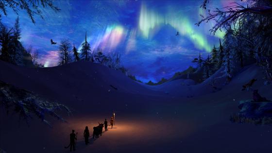 Snowy fantasy landscape wallpaper