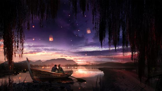 Couple in the boat wallpaper