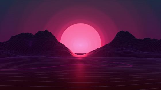 Vaporwave purple sunset wallpaper