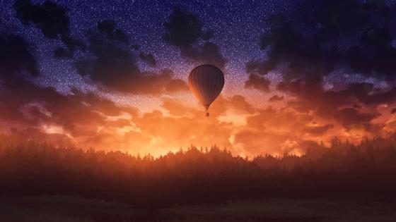 Air Balloon in Sunset wallpaper