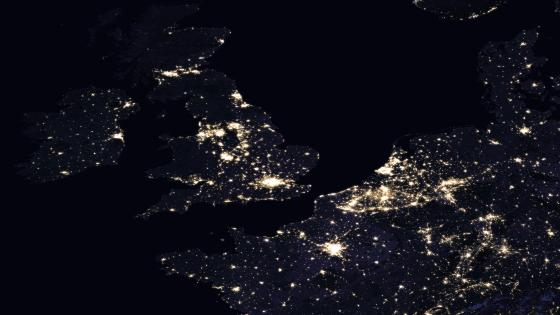 Night Lights of the U.K., Ireland, France, Belgium & the Netherlands 2016 wallpaper