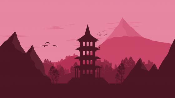 Minimal pagoda wallpaper