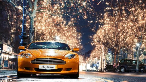 Aston Martin in the christmas lights wallpaper