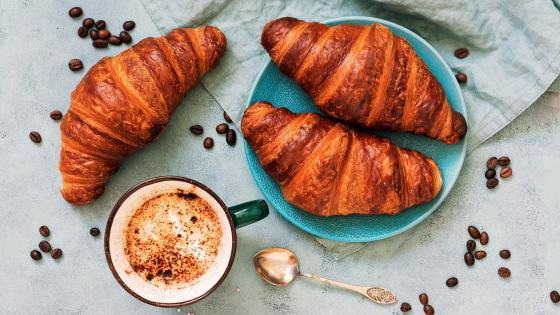 Croissants with coffee wallpaper