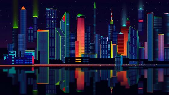 Fantasy colorful city at night wallpaper