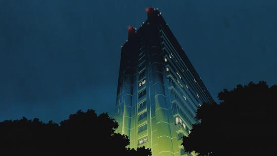 Anime Building Lightning wallpaper