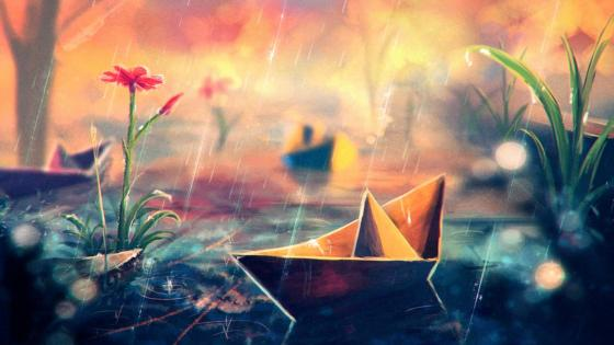Paper Boat In The Rain wallpaper