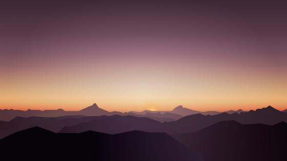 Sunset in the mountains minimal landscape wallpaper