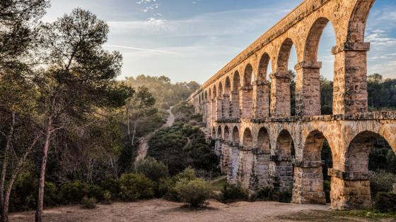 The devil is Ferreres Tarragona Bridge wallpaper