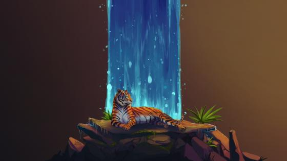 Tiger Waterfall Art wallpaper