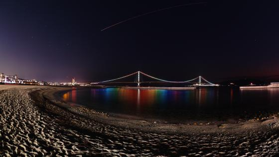 Busan at night fisheye photography wallpaper