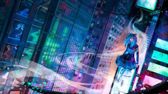 Glass Light Architecture Anime Girl Art wallpaper