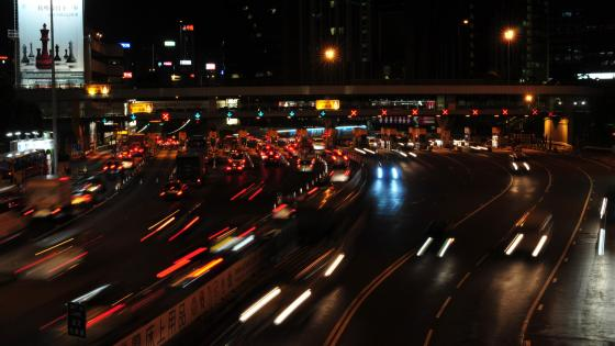 Cross Harbour Tunnel Toll Plaza at Night wallpaper