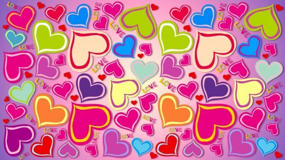 Love Design Text Rainbow Pattern Heart wallpaper