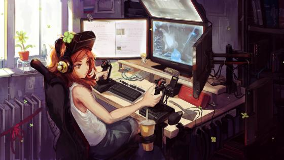 Gamer anime girl wallpaper