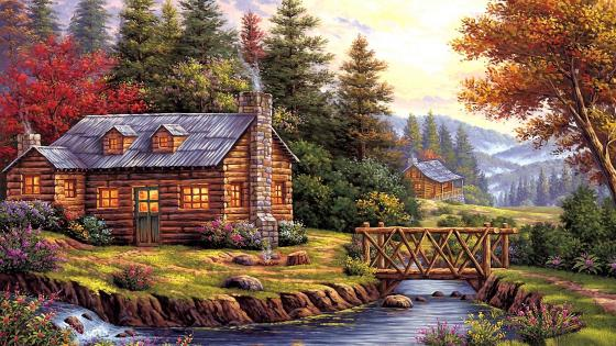 On the Riverside Painting wallpaper