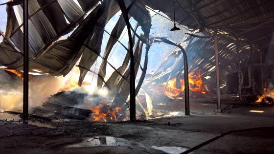 Warehouse on Fire wallpaper