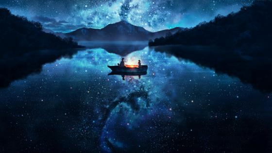 Lake Starry Sky Girl Boy Boat wallpaper